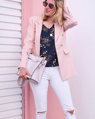 Belle & Bloom Princess Polina Textured Weave Blazer - Blazers (Blush)