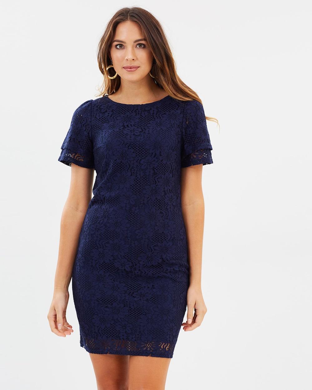 Dorothy Perkins Lace Shift Dress Dresses Navy Blue Lace Shift Dress