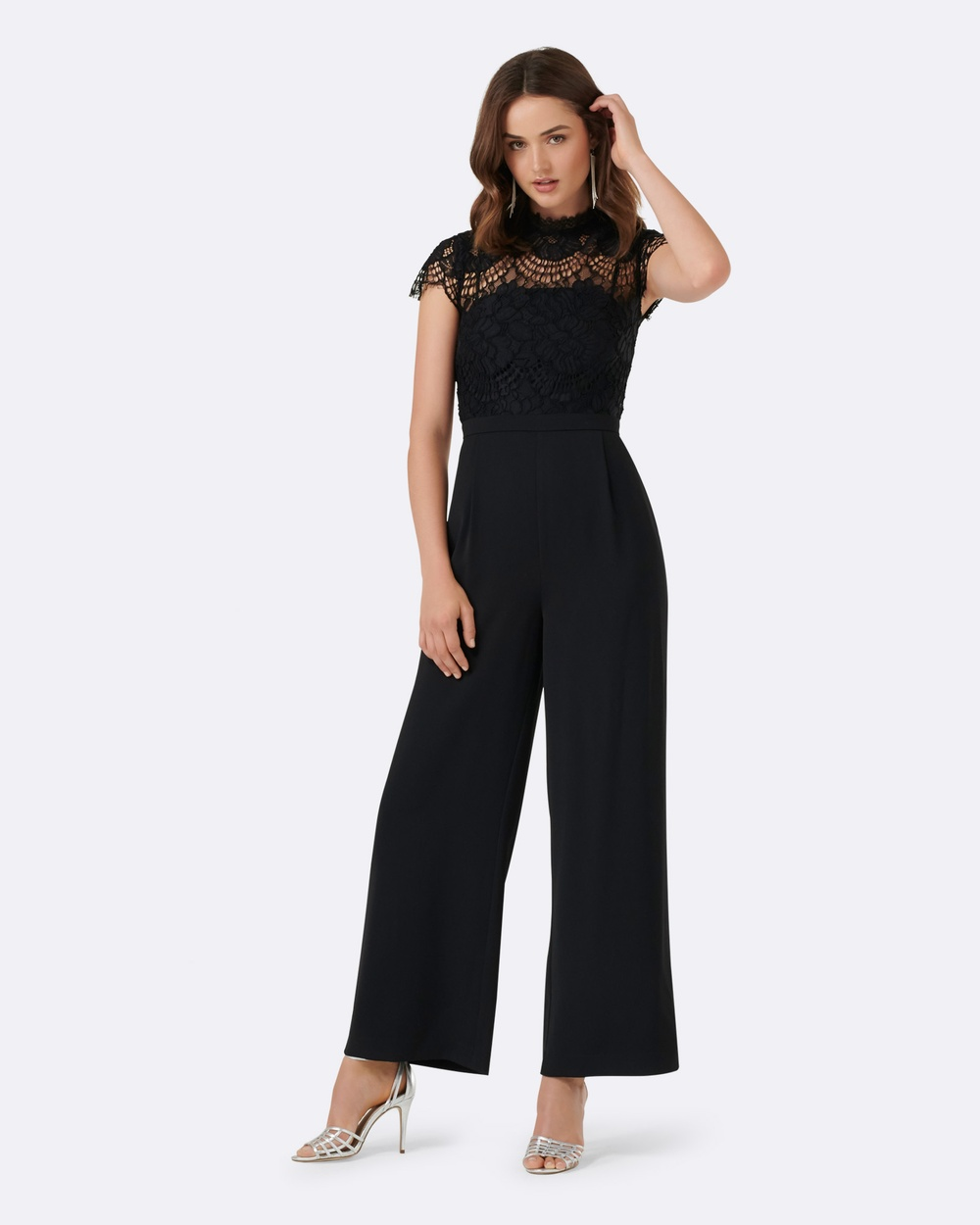 Forever New Leona Lace Wide Leg Jumpsuit Bridesmaid Dresses Black Leona Lace Wide Leg Jumpsuit