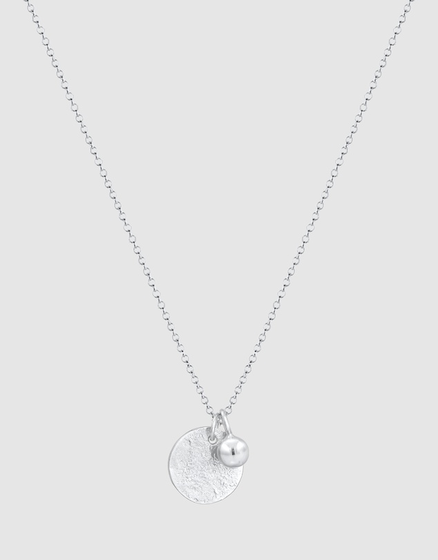 Women Necklace Coin Pendant Organic Look Geo in 925 Sterling Silver