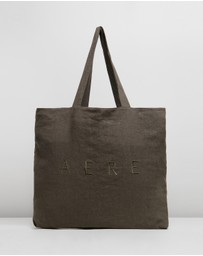 AERE - Oversized Embroidered Linen Tote Bag