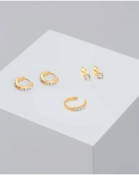 Elli Jewelry - Earrings Set Sparkling Earcuff with Swarovski® Crystals in 925 Sterling Silver Gold Plated