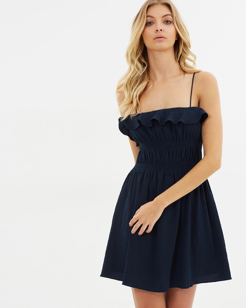 Atmos & Here ICONIC EXCLUSIVE Rita Textured Midi Dress Dresses Navy ICONIC EXCLUSIVE Rita Textured Midi Dress