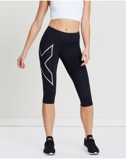 2xu Mid-rise 3/4 Compression Tights Black & Silver Reflective