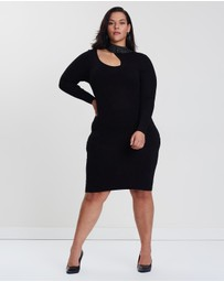 Lost Ink Plus - Knitted Body-Con Dress with Studs
