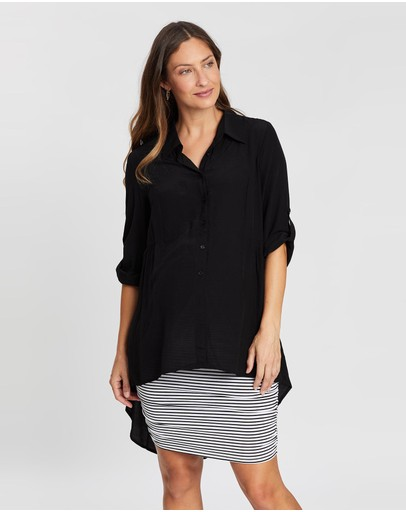 Angel Maternity Oversize High Low Button Tunic Top Black