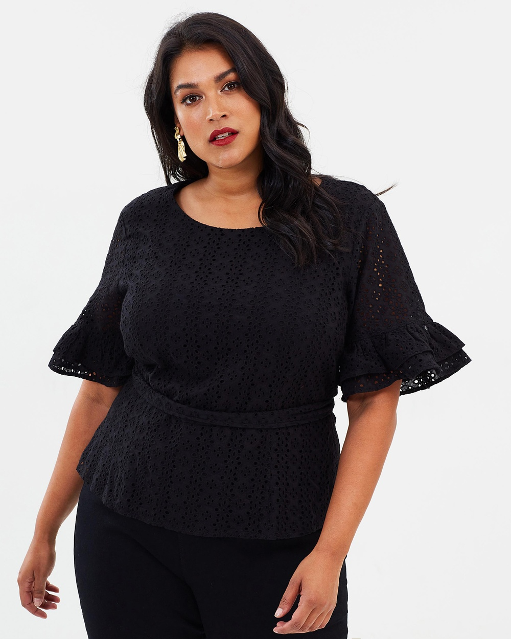 Atmos & Here Curvy ICONIC EXCLUSIVE Bianca Broidery Top Tops Black ICONIC EXCLUSIVE Bianca Broidery Top