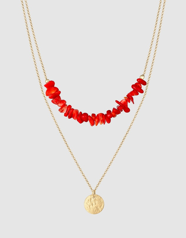 Elli Jewelry - Necklace Layer Platelets Coral Red 925 Silver Gold Plated