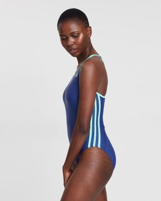 adidas Swim 3 Stripe Swimsuit - One-Piece / Swimsuit (Purple & Green)