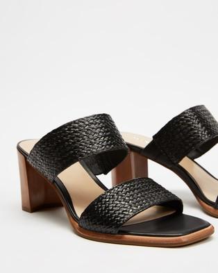 Jo Mercer Surrey Mid Heel Sandals - Heels (Black Raffia)