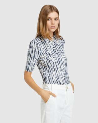 Oxford Imogen Printed Jersey Top Tops Blue