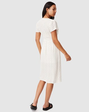 Cotton On Woven Imogen Ruched Midi Dress - Printed Dresses (Anna Tile White)