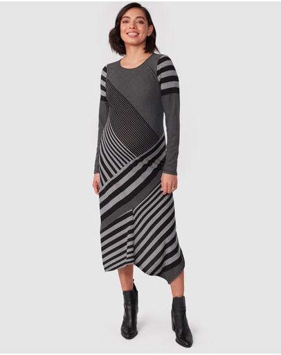 Pea In A Pod Maternity Clarissa Dress Black Grey Stripe