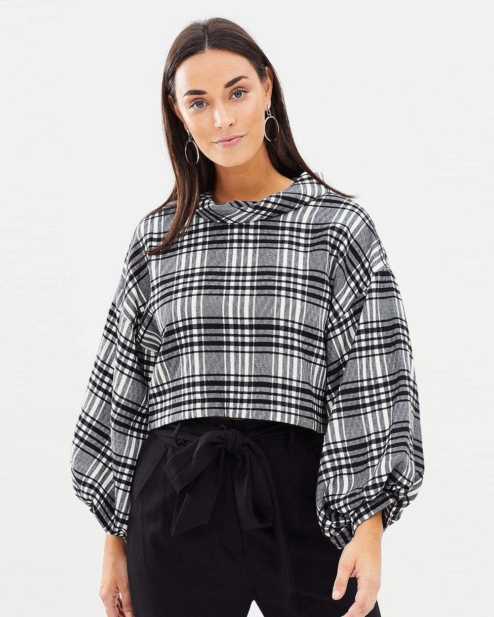 Honey and Beau Paityn Balloon Sleeve Top Cropped tops Check Paityn Balloon Sleeve Top
