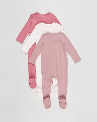 Cotton On Baby 3 Pack Long Sleeve Zip Romper   Babies - Longsleeve Rompers (Mauve Plum, Dusty Berry & Crystal Pink)