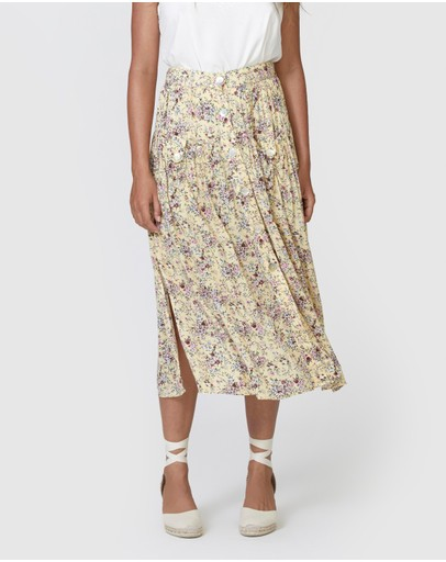 Auguste The Label Lola Brooks Midi Skirt Lemon