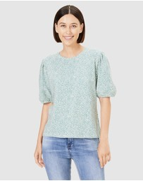 French Connection - Textured Puff Sleeve T Shirt