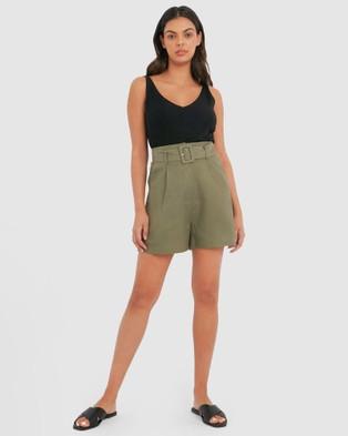 Forcast Jana Belted Linen Shorts - High-Waisted (Khaki)