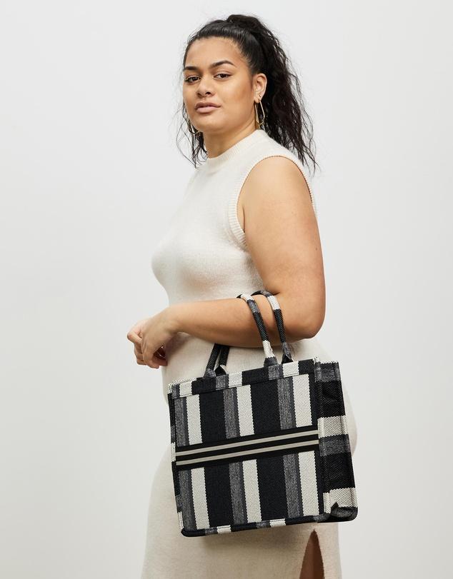 Women Large Striped Canvas Messenger Tote Bag