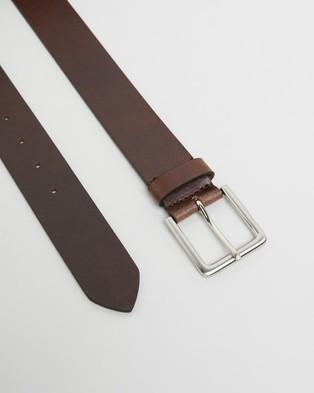 Double Oak Mills Smooth Leather 40mm Belt - Belts (Brown & Silver)