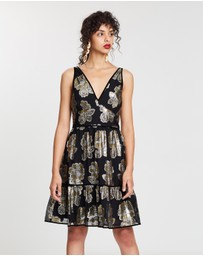 J.Crew - Metallic Foulard Gigi Tiered Dress