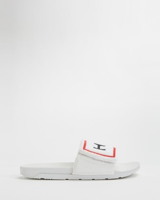 Hunter Original Terry Towelling Logo Slides   Women's - Slides (White)