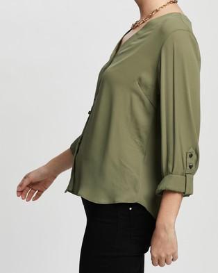 DP Petite Plain Roll Sleeve Shirt - Tops (Green)