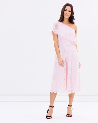 Warehouse – Floral Jacquard One Shoulder Dress Pink