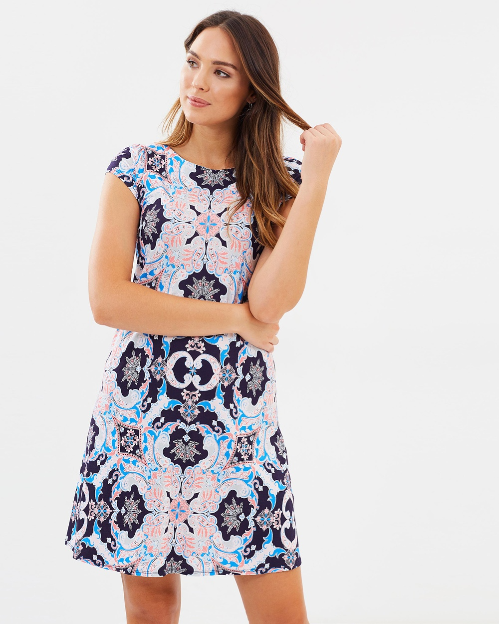 Wallis Kaleidoscope Paisley Swing Dress Printed Dresses Navy Blue Kaleidoscope Paisley Swing Dress