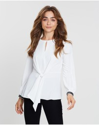 Dorothy Perkins - Tie Front Trim Cuff Long Sleeve Top