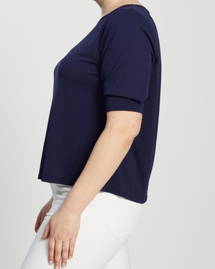 Atmos&Here Curvy - Eva Creped Jersey Top Tops (Navy)