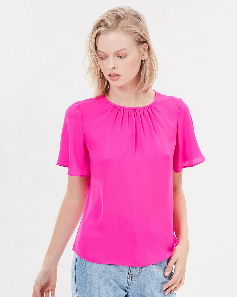 Warehouse Angel Sleeve Top Tops Pink Angel Sleeve Top