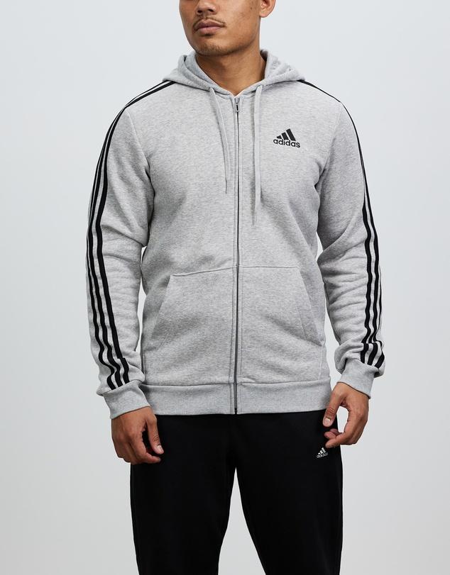 Men Essentials Fleece 3-Stripes Full-Zip Hoodie