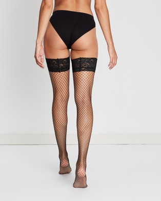 Ann Summers Lace Top Fishnet Hold Ups - Socks & Tights (Black)