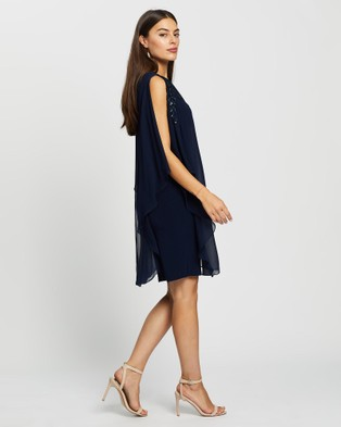 Montique Celine Sequin Chiffon Overlay Dress - Dresses (Navy)