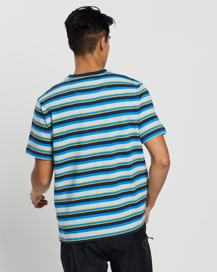 The North Face - Short Sleeve Berkeley Stripe Tee - T-Shirts & Singlets (Faded Blue & Creekside Stripe) Short Sleeve Berkeley Stripe Tee