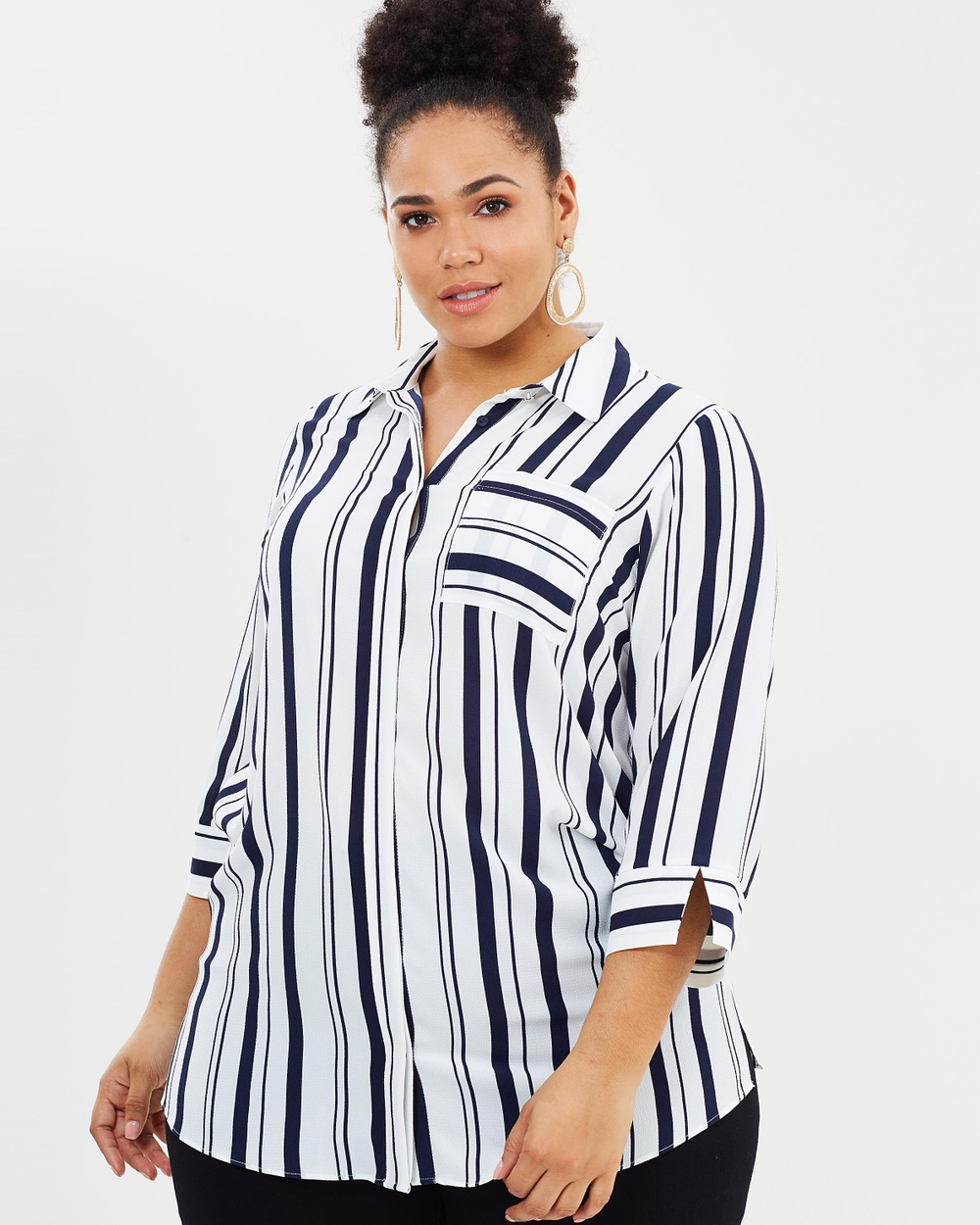 EVANS Navy Stripe Shirt Tops Navy Navy Stripe Shirt