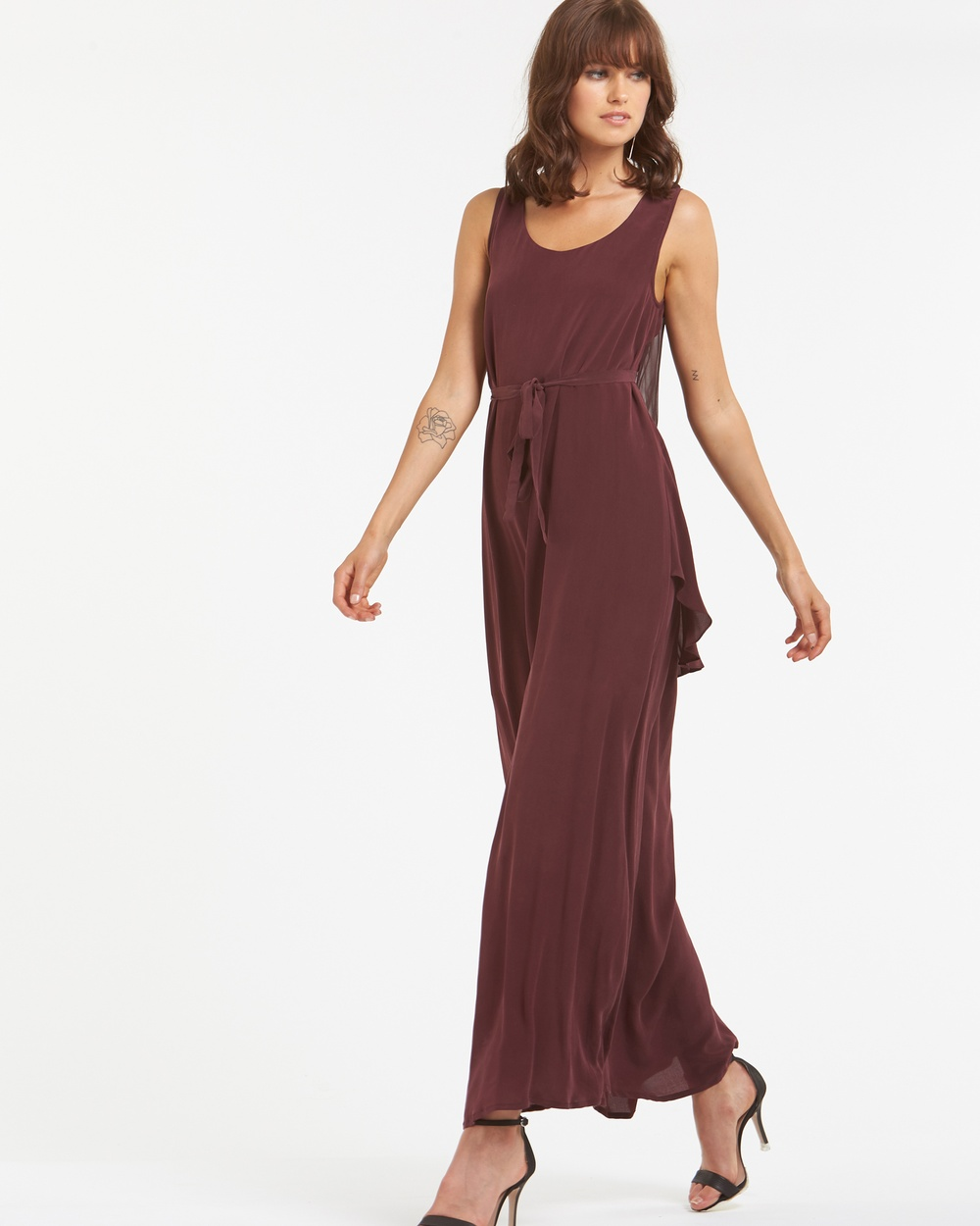 Amelius Sway Silk Maxi Bridesmaid Dresses Burgundy Sway Silk Maxi