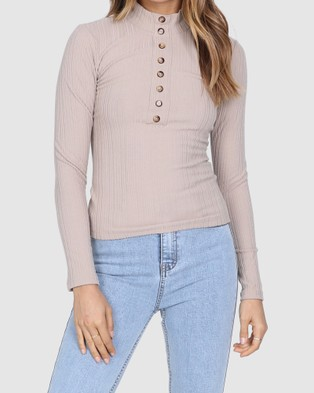Lost in Lunar  Nadia Ribbed Top - Tops (Stone)