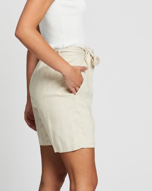 Atmos&Here Kym Linen Blend Tie Waist Shorts - High-Waisted (Oatmeal)