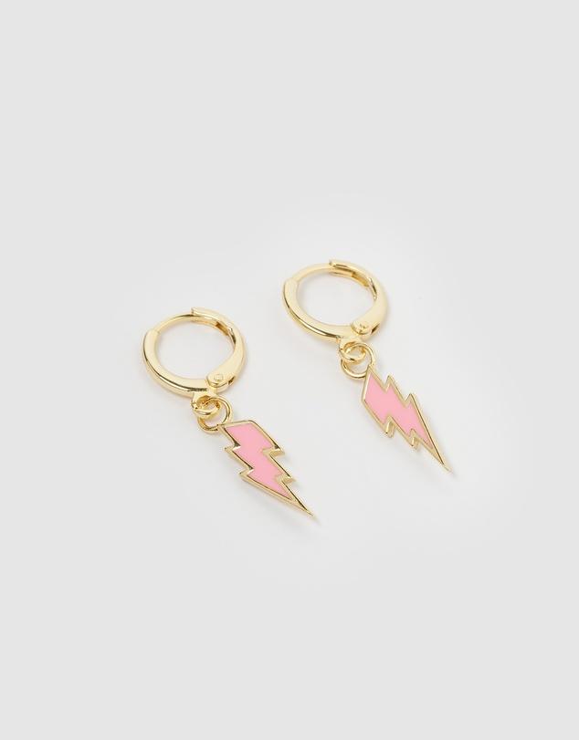 Women Lyn Lightning Bolt Huggie Earrings
