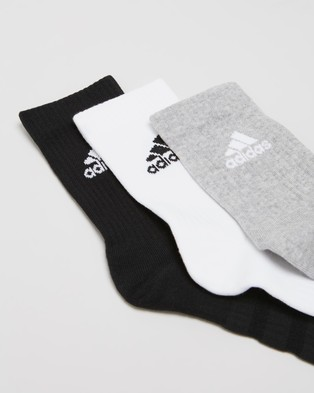 adidas Performance - 3 Pack Cushioned Crew Socks Unisex (Medium Grey Heather, White & Black) 3-Pack