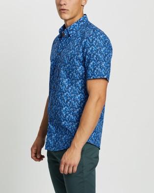 Marcs Knowles Short Sleeve Shirt - Shirts & Polos (Blue Leaves)