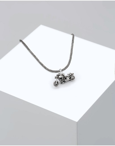 Kuzzoi Necklace Snake Chain Motorcycle Rock In 925 Sterling Silver
