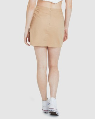 Subtitled Syble Sister Linen Mini Skirt - Skirts (NATURAL)