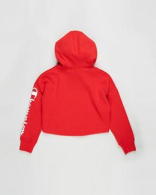 Champion Graphic Crop Hoodie Teens Clothing Red Logo