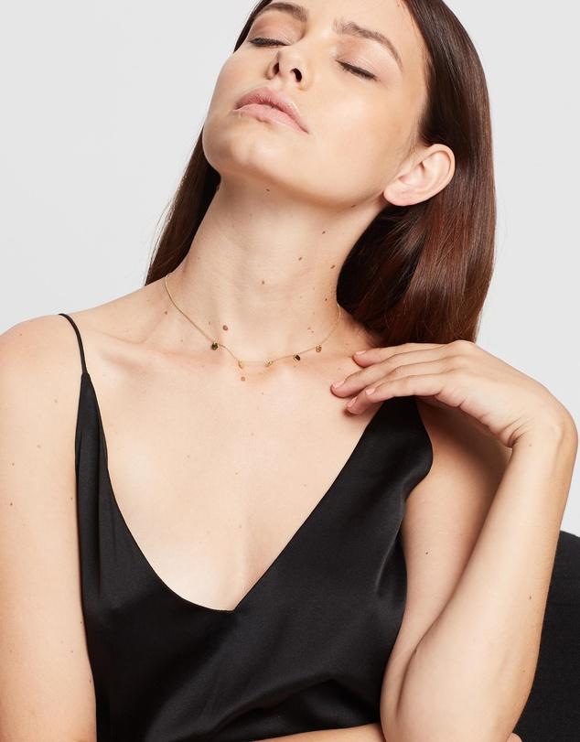 Women Disc Multi Drop Short Necklace