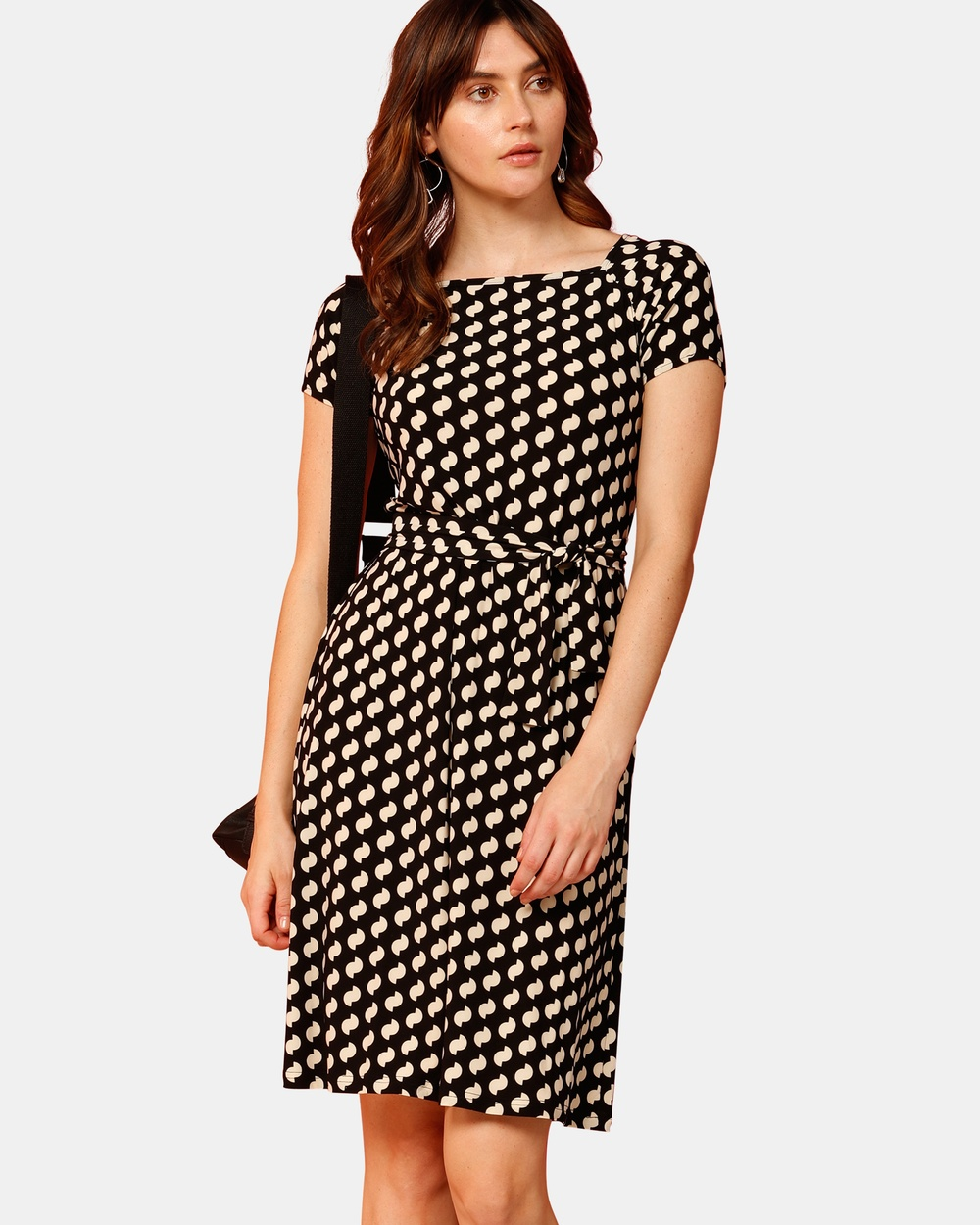 SACHA DRAKE Black Inscope Arch Cap Sleeve Dress