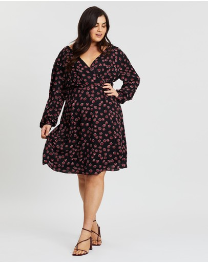 Atmos&here Curvy Tally Cross Front Dress Black Base Floral