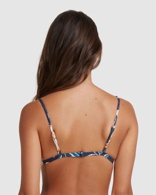 Roxy Womens Bu Lilies Surf Fixed Tri Separate Bikini Top - Bikini Tops (MOOD INDIGO HAPPY DA)